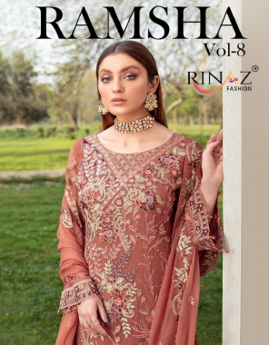 brown top : fox georgette with heavy embroidery & diamond work | bottom + inner - heavy santoon with embroidery | dupatta - naznin with heavy embroidery fabric diamond work + embroidery work casual
