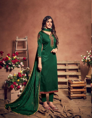 dark green top - pure jam silk with heavy embroidery and slave work   bottom: pure cotton   dupatta : pure chinon with embroidery four side lace fabric heavy embroidery work casual