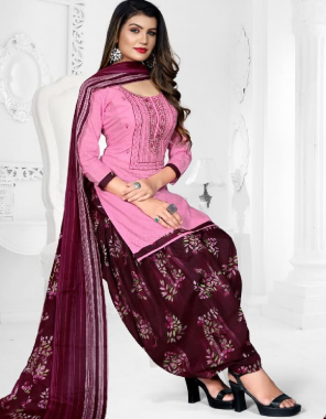 pink top - heavy cotton with embroidery work ( 2.50m)   bottom - cotton (2.50m)   dupatta - cotton ( 2m) fabric embroidery work casual