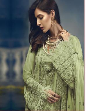 light green top - heavy fox georgette ( heavy khatali hand work ) | bottom - santoon | dupatta - heavy nazmin ( heavy work) ( pakistani copy) fabric heavy khatali hand work work casual