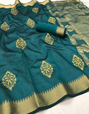 rama blue soft silk  fabric weaving work casual