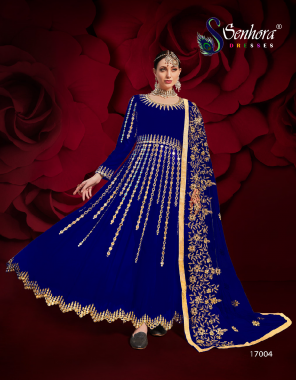 royal blue top - pure georgette with embroidery work - stone original real mirror work    dupatta - net with heavy embroidery mirror work   bottom - inner - santoon  fabric embroidery  work casual