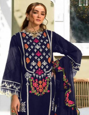 royal blue top - pure cotton with embroidery | dupatta - nazmin with embroidery | bottom - cotton  ( pakistani copy) fabric embroidery work ethic