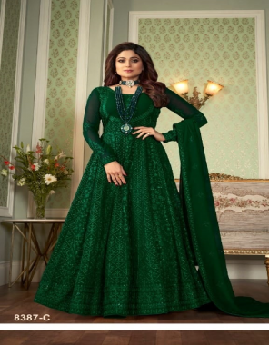 drak green top - heavy fox georgette with chain stich work with sequance | bottom - santoon | inner - santoon | dupatta - heavy fox  georgette with chain stitch work with sequance with 4 side less | size - max up to 46 | length - max up to 50