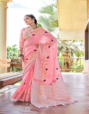 baby pink soft linen with beautiful gotapatti border fabric gotapatti border work festive