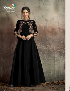 black soft tapeta silk with embroidery cotton | inner stiched koti style fabric embroidery work casual