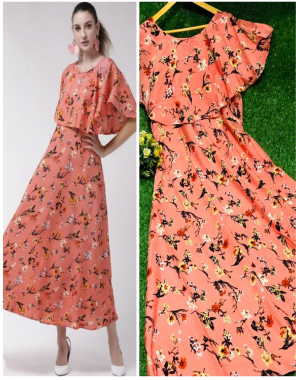 peach ice crape with print | inner - crape fabric printed work casual
