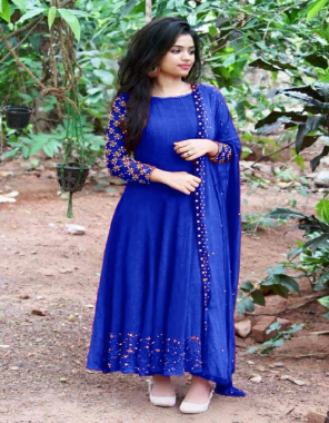 royal blue georgette with atteched hevay silk inner | dupatta - heavy georgette with all over moti | length 52+ fabric moti work work casual