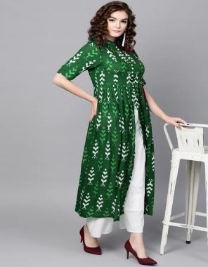 dark green rayon digital printed fabric digital printed work casual