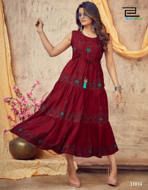 red 14 kg rayon printed with same fabric belt fabric printed work casual