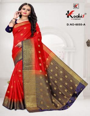 red banglory & banarasi silk fabric weaving work casual