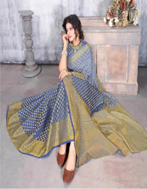 rama blue silk fabric jacquard work casual