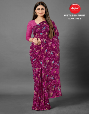 pink weight less georgette fabric printed work ethic