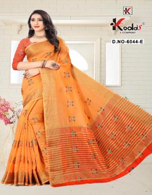 orange cotton silk  fabric weaving work festive
