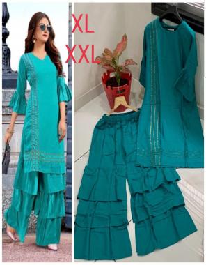 sky blue heavy 14 kg rayon | sleeves : 3/4 fabric plain work party wear