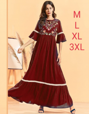 maroon 14 kg heavy rayon  fabric embroidery work casual