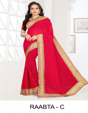 pink 60gm georgette  fabric embroidery work festive