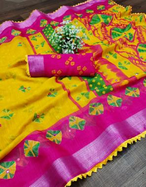 yellow cotton silk  fabric printed & mirror work work festive