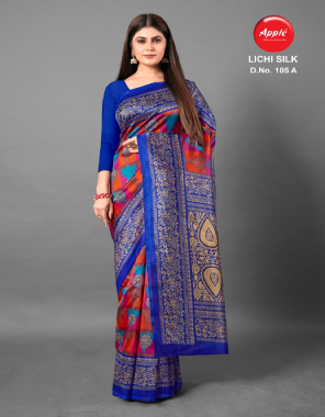 blue art silk  fabric printed work ethic