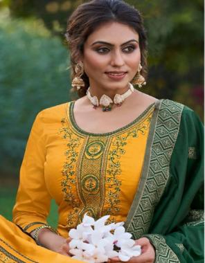 yellow top - jam silk with khatli work | bottom - cotton silk | dupatta - banarasi silk  fabric khatli work work festive