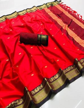 red cotton silk golden weaving border q fabric golden weaving work running