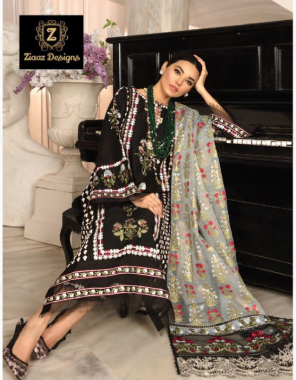 black soft cotton fabric  heavy self embroidery all over beautiful heavy net embroidery dupatta ( pakistani copy ) fabric heavy self embroidery work casual