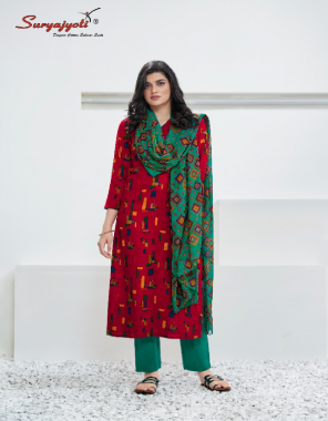red top - rayon printed 2.50 m | botton - cotton solid 2.50m | dupatta - nazneen print 2.25 m fabric printed work casual