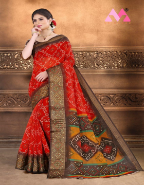 red cotton linen  fabric bandhej print work casual