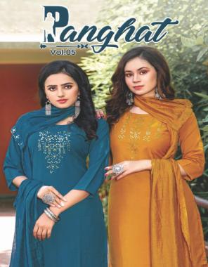yellow top & bottom - chinnon silk   dupatta - godwal  fabric embroidery work casual