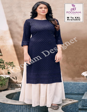 navy blue pure rayon front / back chikan work with sequance fabric chikan work casual