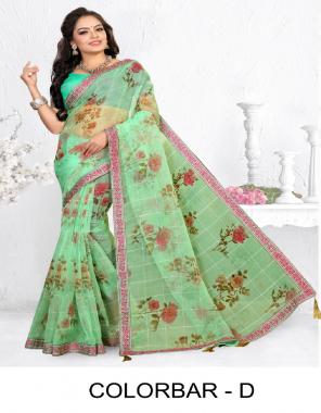 parrot green oraganza silk  fabric printed work casual