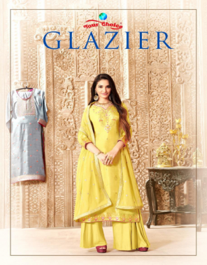 yellow top - pure dolla silk | inner & bottom - dull santoon | duppatta - georgette sequance work fabric sequance + nack embroidery work casual
