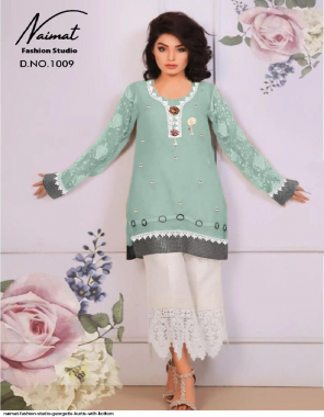 light green top - heavy fox georgette | inner - santoon | bottom - pure cotton strachable fabric emboidery work casual