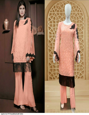 peach top- foux with inner ( santoon ) | bottom - jaam satin ( 100% pure cotton ) fabric embroidery + atteched moti work work party wear