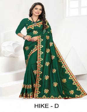 dark green vichitra silk  fabric embroidery work casual