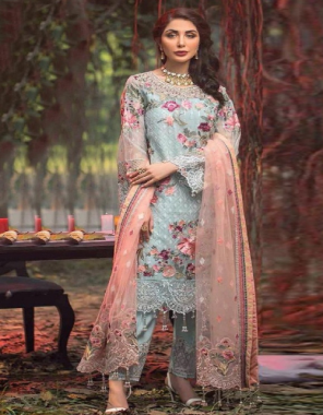 sky blue top - fox georgette with heavy embroidery | bottom - dull santoon | dupatta - net with heavy embroidery ( pakistani copy ) fabric heavy embroidery work party wear