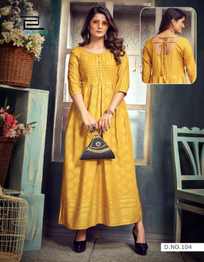 yellow rayon 14kg rayon with gold print | note - m to 10 xl size available fabric gold print work casual