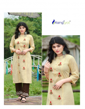 musterd yellow top - rayon lurex   bottom - rayon slub fabric embroidery work casual
