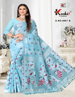 sky blue cotton fabric printed work casual