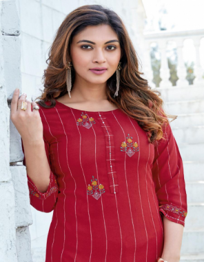 maroon top - rayon weaving stripe with embroidery work | bottom - rayon slub lycra with embroidery work  fabric embroidery work casual