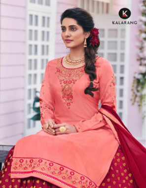 light pink top - modal satin silk with heavy embroidery work with sleeve work | bottom - pure silk viscose zari butti ready wear | dupatta - chinon with border fabric embroidery work casual