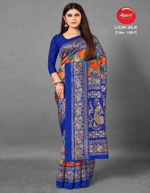 royal blue silk fabric printed work running
