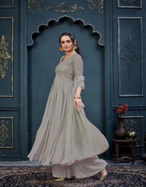 grey top - heavy georgette with beautiful embroidery and beautiful mirror work   inner - premium santoon   bottom  - premium santoon with delicate embroidery work   dupatta - heavy georgette with sarvoski work and elegant leases work fabric embroidery + mirror work work casual