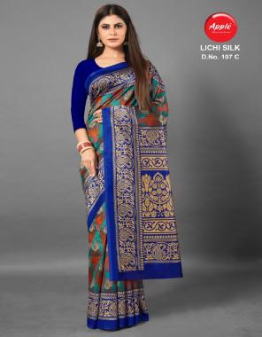royal blue art silk fabric printed work casual
