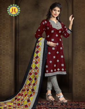 maroon top - cotton printed 2.50m | bottom - cotton printed 2 m | dupatta - cotton printed 2.25m fabric printed work party wear