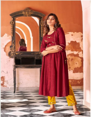 maroon top - fancy rayon with khatli work and mok work   pent - jam cotton pent with work fabric khatli work + mok work work casual