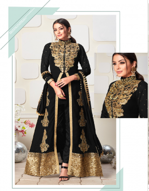 black upper dress - koti concept faux georgette with embroidery work + heavy stone work   inner dress - stright dress plain georgette fabric embroidery work casual