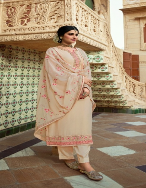 cream embroidered georgette with heavy embroidery dupatta  fabric embroidery work ethnic