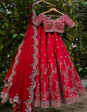red georgette fabric thread embroidery + stone work work casual