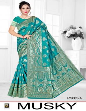 sky blue silk fabric jacquard work festive